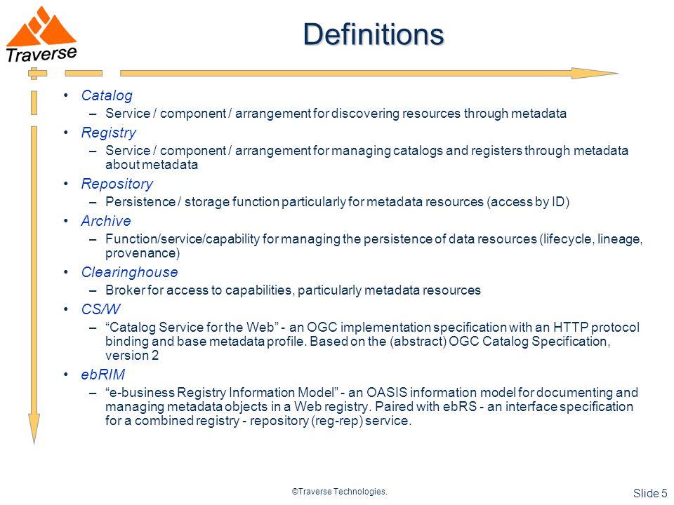 ©Traverse Technologies. Slide 6 Publish-Find-(Bind) Use Case GEOSS use case from Nebert, 2007