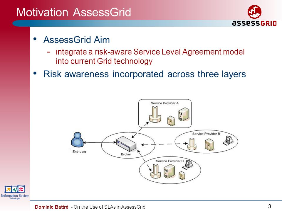 Dominic Battré - On the Use of SLAs in AssessGrid 3 Motivation AssessGrid AssessGrid Aim - integrate a risk-aware Service Level Agreement model into current Grid technology Risk awareness incorporated across three layers