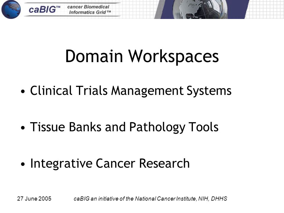 27 June 2005caBIG an initiative of the National Cancer Institute, NIH, DHHS Domain Workspaces Clinical Trials Management Systems Tissue Banks and Path