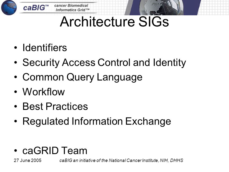 27 June 2005caBIG an initiative of the National Cancer Institute, NIH, DHHS Architecture SIGs Identifiers Security Access Control and Identity Common Query Language Workflow Best Practices Regulated Information Exchange caGRID Team
