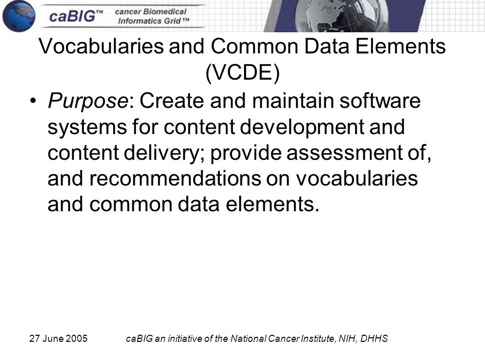 27 June 2005caBIG an initiative of the National Cancer Institute, NIH, DHHS Vocabularies and Common Data Elements (VCDE) Purpose: Create and maintain software systems for content development and content delivery; provide assessment of, and recommendations on vocabularies and common data elements.