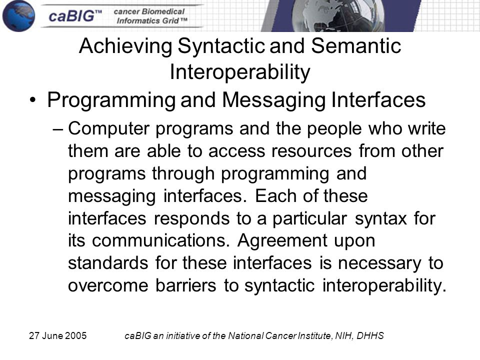 27 June 2005caBIG an initiative of the National Cancer Institute, NIH, DHHS Achieving Syntactic and Semantic Interoperability Programming and Messaging Interfaces –Computer programs and the people who write them are able to access resources from other programs through programming and messaging interfaces.