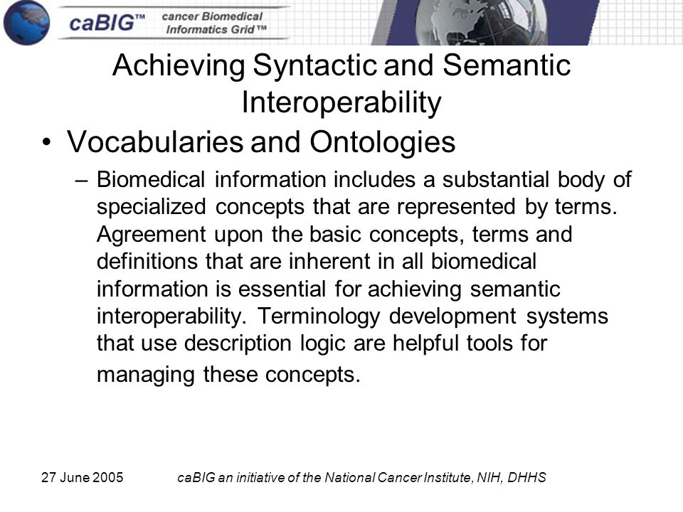 27 June 2005caBIG an initiative of the National Cancer Institute, NIH, DHHS Achieving Syntactic and Semantic Interoperability Vocabularies and Ontolog