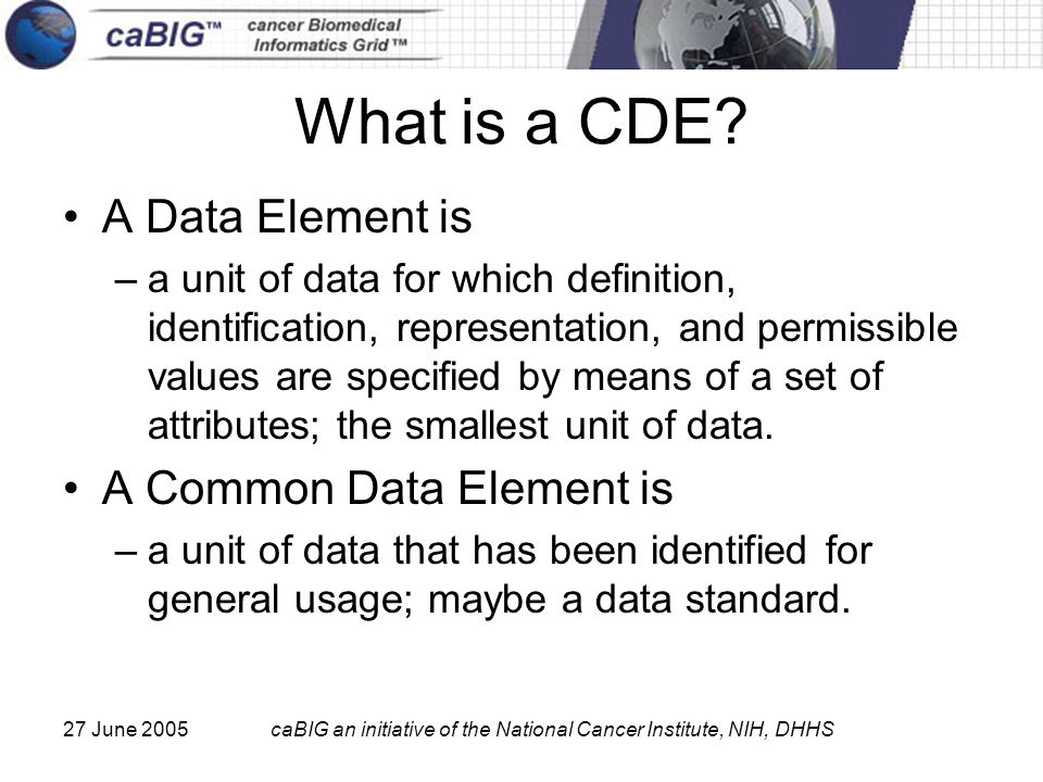 27 June 2005caBIG an initiative of the National Cancer Institute, NIH, DHHS What is a CDE? A Data Element is –a unit of data for which definition, ide