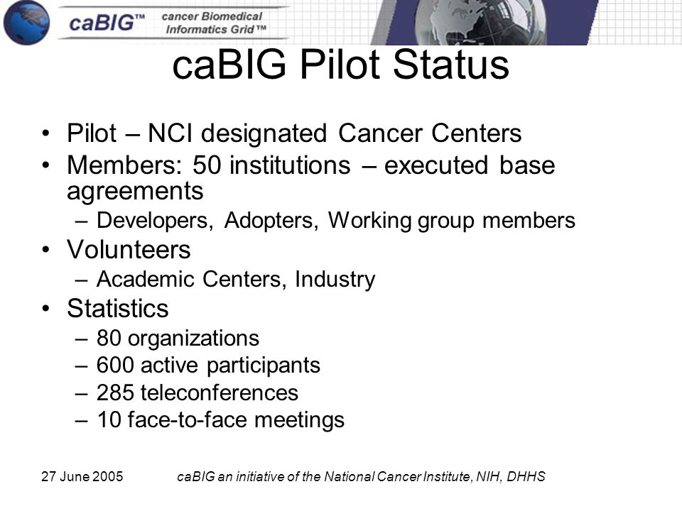 27 June 2005caBIG an initiative of the National Cancer Institute, NIH, DHHS caBIG Pilot Status Pilot – NCI designated Cancer Centers Members: 50 institutions – executed base agreements –Developers, Adopters, Working group members Volunteers –Academic Centers, Industry Statistics –80 organizations –600 active participants –285 teleconferences –10 face-to-face meetings