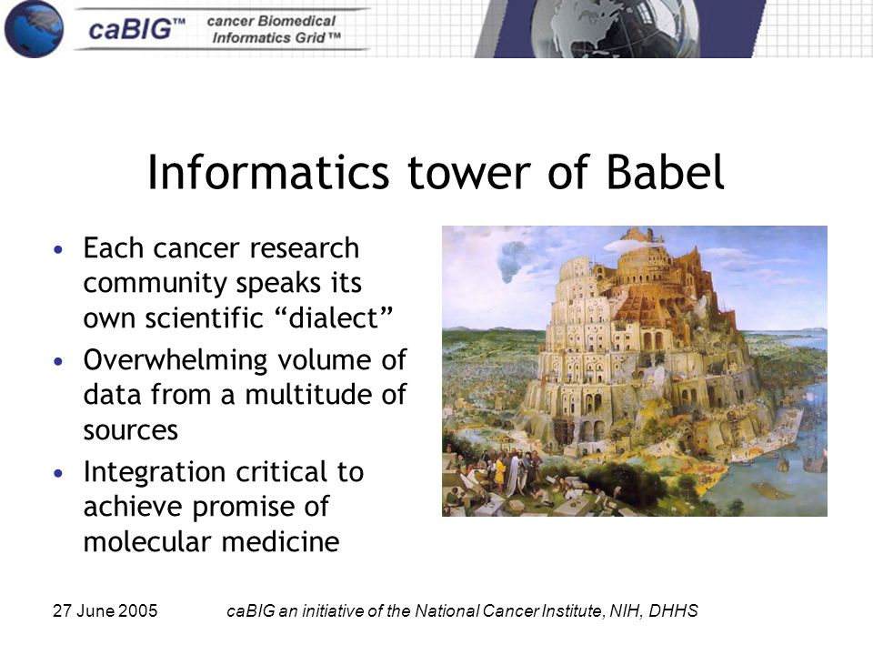 27 June 2005caBIG an initiative of the National Cancer Institute, NIH, DHHS Informatics tower of Babel Each cancer research community speaks its own scientific dialect Overwhelming volume of data from a multitude of sources Integration critical to achieve promise of molecular medicine