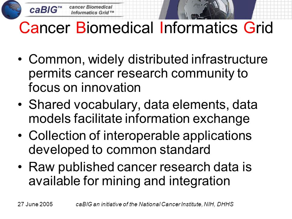 27 June 2005caBIG an initiative of the National Cancer Institute, NIH, DHHS Cancer Biomedical Informatics Grid Common, widely distributed infrastructu