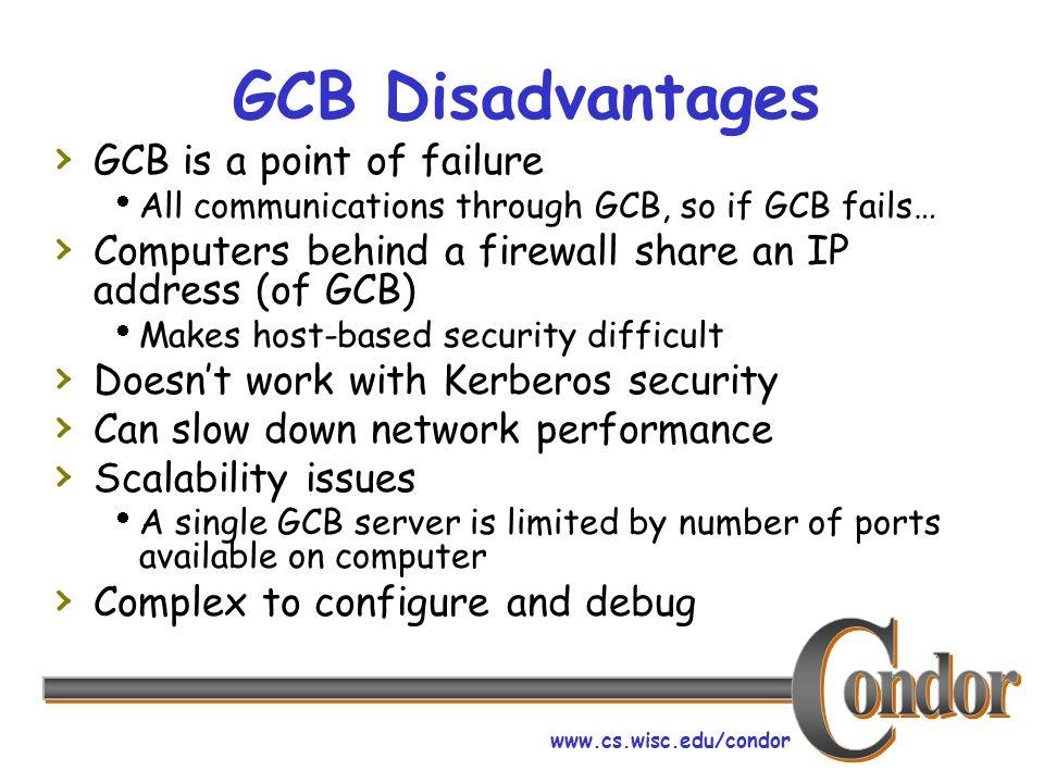 www.cs.wisc.edu/condor GCB Disadvantages GCB is a point of failure All communications through GCB, so if GCB fails… Computers behind a firewall share