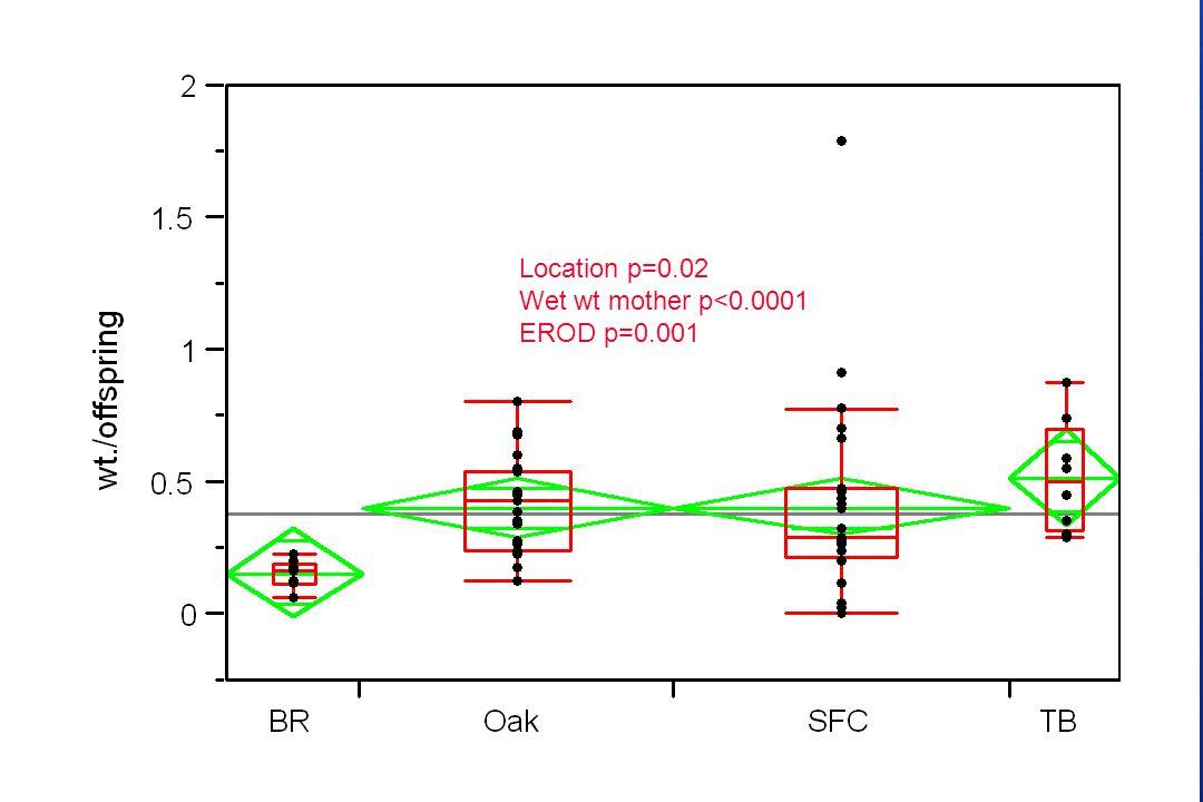 Location p=0.02 Wet wt mother p<0.0001 EROD p=0.001