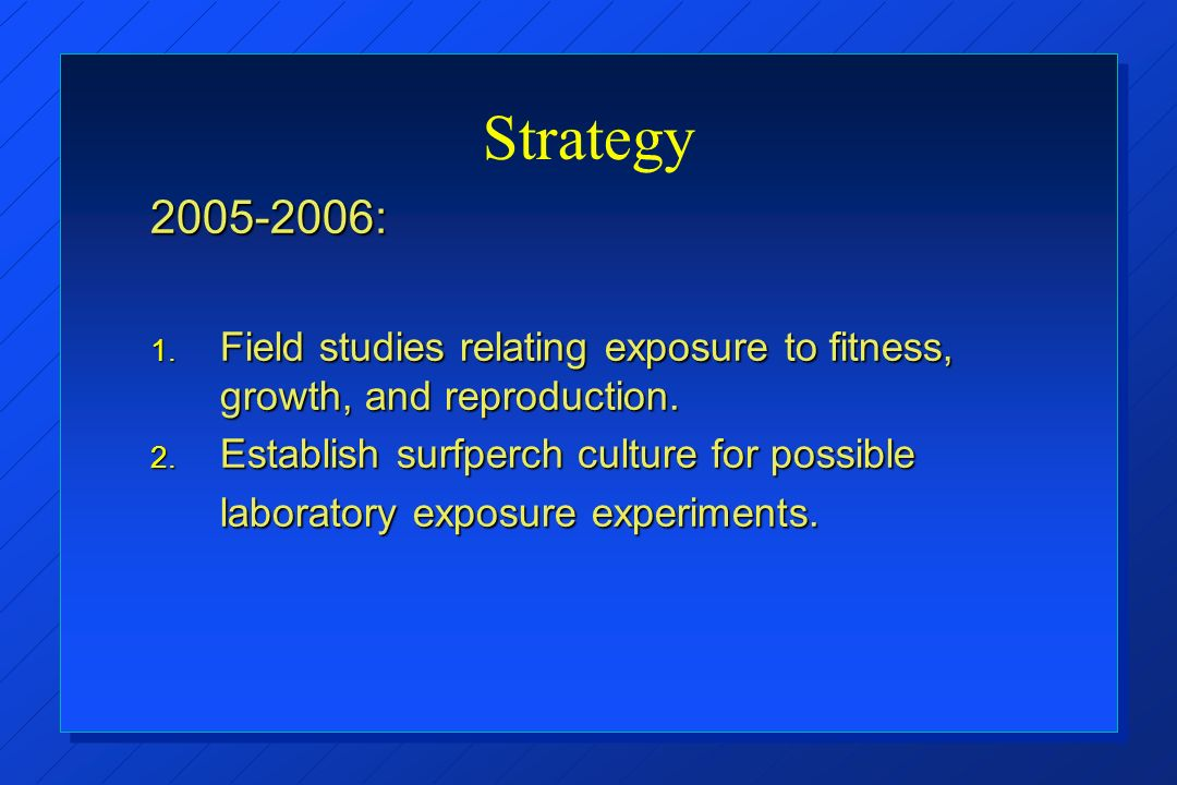 Strategy : 1. Field studies relating exposure to fitness, growth, and reproduction.