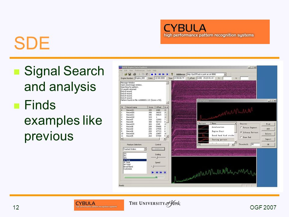 OGF 200712 SDE Signal Search and analysis Finds examples like previous