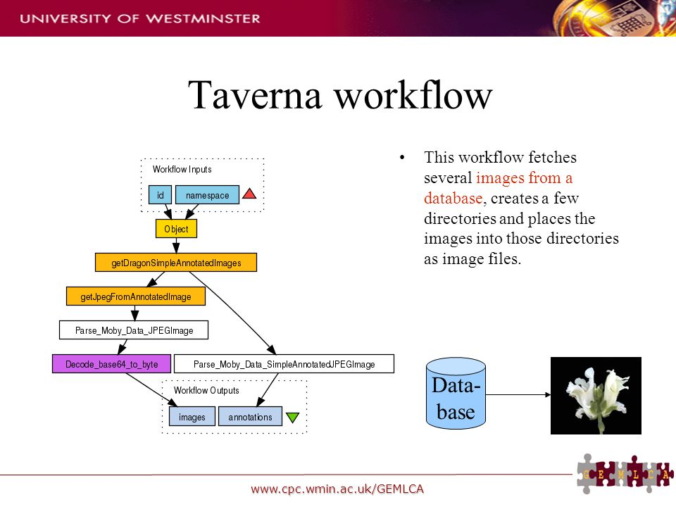 www.cpc.wmin.ac.uk/GEMLCA Taverna workflow This workflow fetches several images from a database, creates a few directories and places the images into those directories as image files.