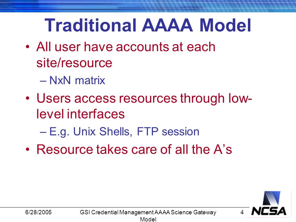6/28/20054GSI Credential Management AAAA Science Gateway Model Traditional AAAA Model All user have accounts at each site/resource –NxN matrix Users access resources through low- level interfaces –E.g.
