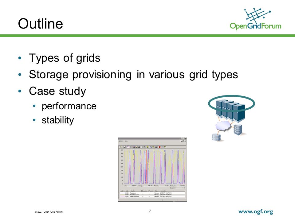 © 2007 Open Grid Forum 23 Client load Program to generate heavy CPU and paging activity (2 GB memory area, lots of reads and writes) Several instances per client