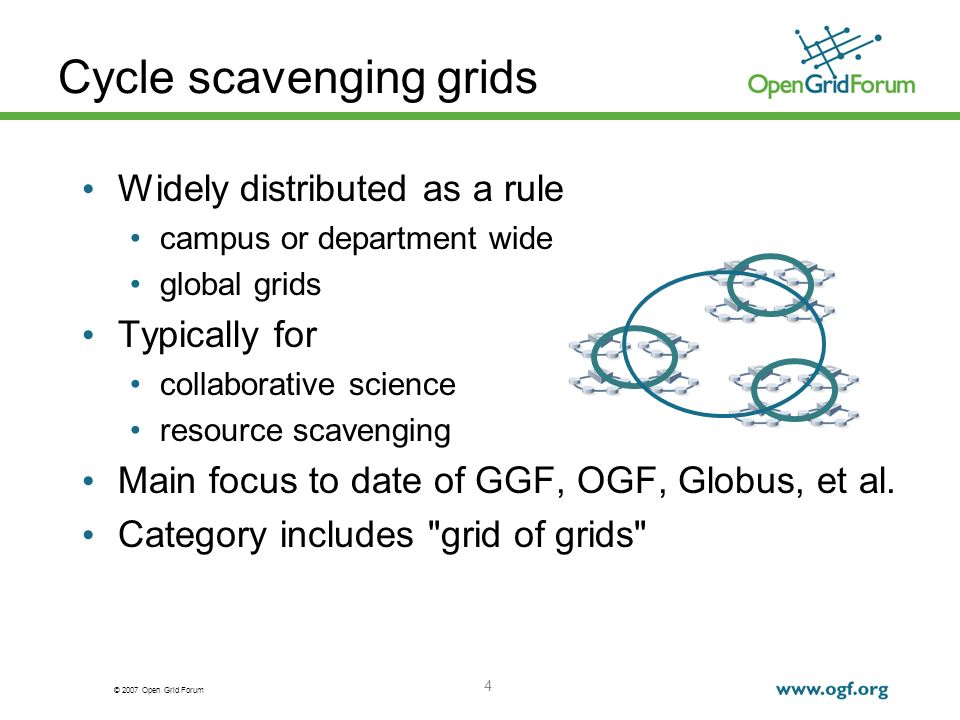 © 2007 Open Grid Forum 15 Provisioning a diskless node Add HBAs to white box if necessary Fiddle with CMOS to boot from SAN For iSCSI: DHCP supplies address, node name SGME provisions igroup for node address SGME creates LU for node SGME maps LU to igroup For FC: zone, mask, map, etc.