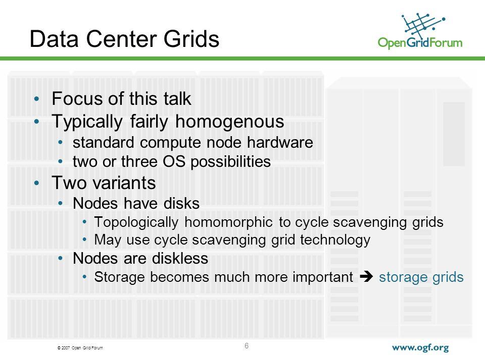 © 2007 Open Grid Forum 7 Storage technology adoption curves Market Adoption Cycles Enterprise Storage Market Today Grid Frameworks Today .