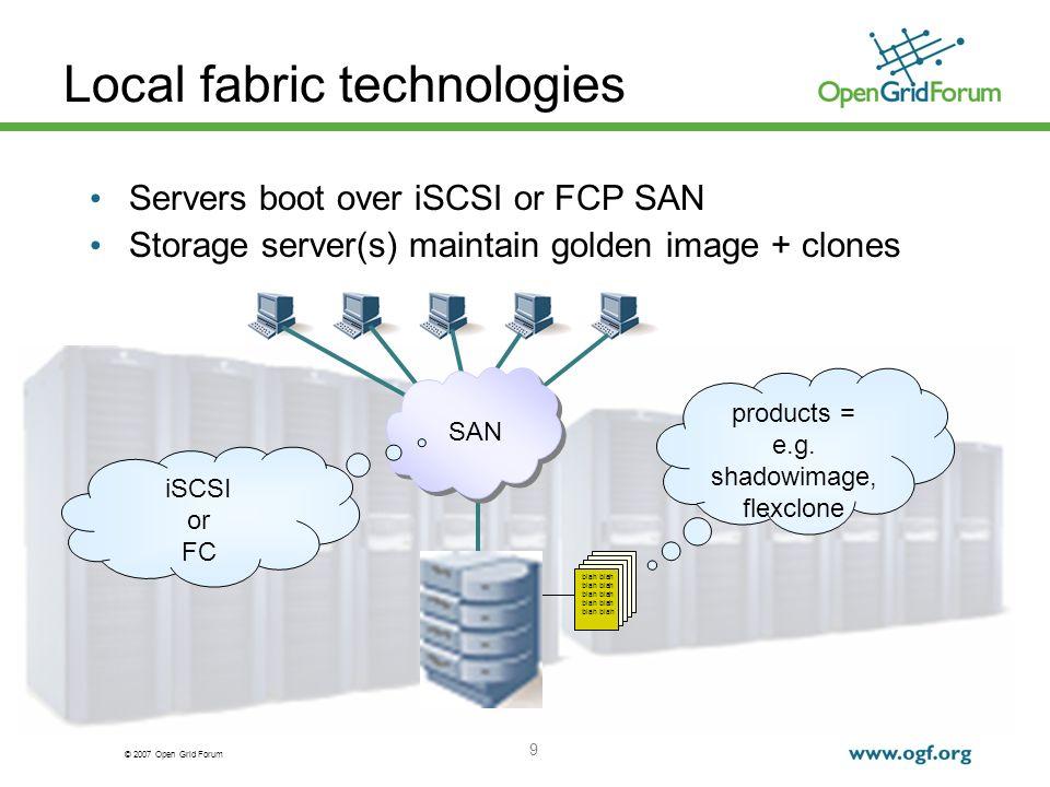 © 2007 Open Grid Forum 20 Getting clients to switch horses SGME: for each client Notify client to clean up Bring down client remote power strips/blade controllers Remap client LUN on storage des-3050-2> lun offline /vol/vol1/iscsi/kc65b1 des-3050-2> lun unmap /vol/vol1/iscsi/kc65b1 kc65b1 0 des-3050-2> lun online /vol/vol1/iscsi2/kc65b1 des-3050-2> lun map /vol/vol1/iscsi/kc65b1 kc65b1 0 Bring up client DHCP