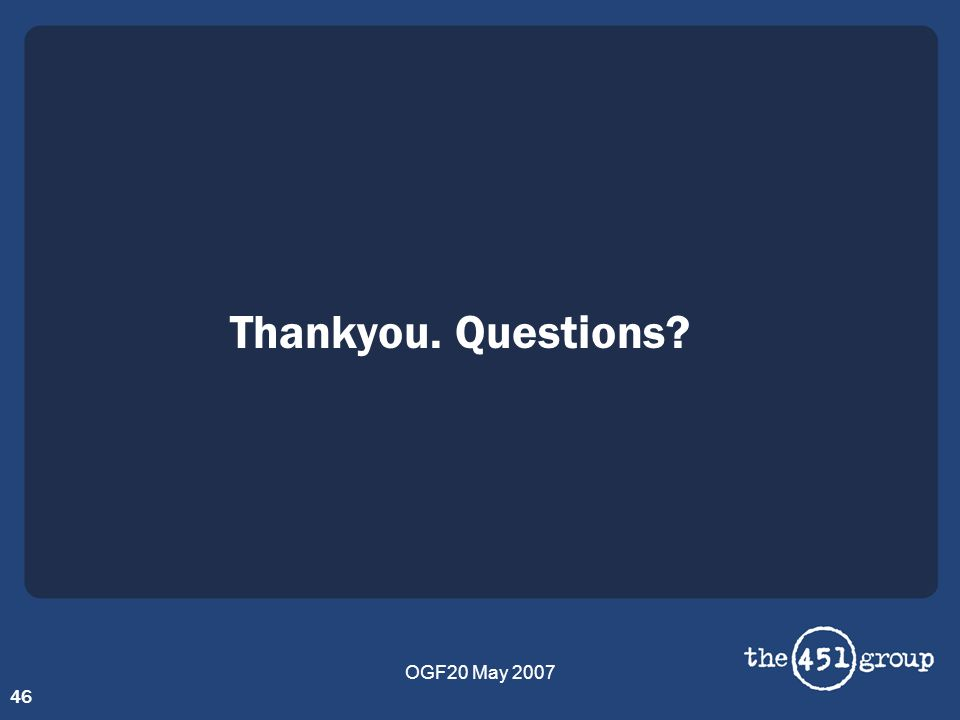 OGF20 May 2007 46 Thankyou. Questions?