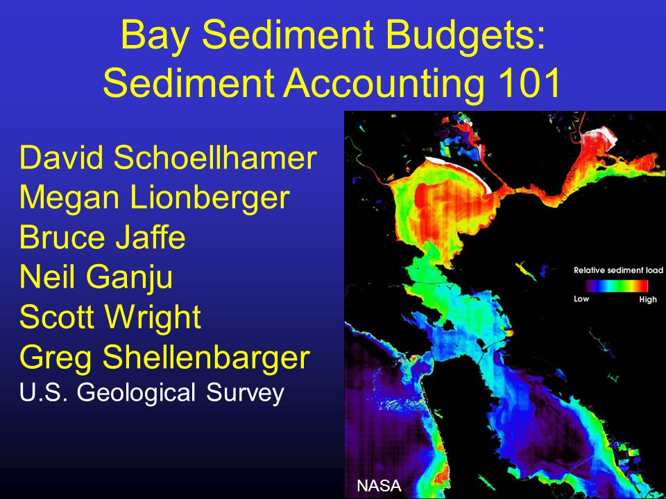 A sediment budget describes the quantity of sediment Entering the Bay Leaving the Bay Depositing in or eroding from the Bay