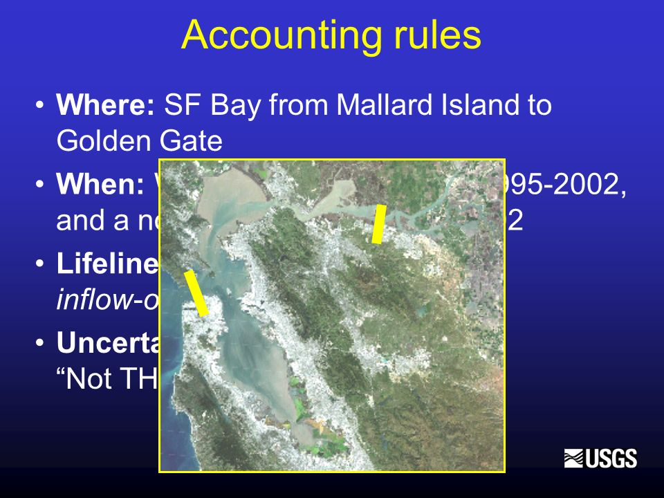 Accounting rules Where: SF Bay from Mallard Island to Golden Gate When: Water years 1955-1990, 1995-2002, and a normal water year 1995-2002 Lifeline: Conservation of mass: inflow-outflow=change in storage Uncertainty: varies by term, Not THE answer – Steve Ritchie