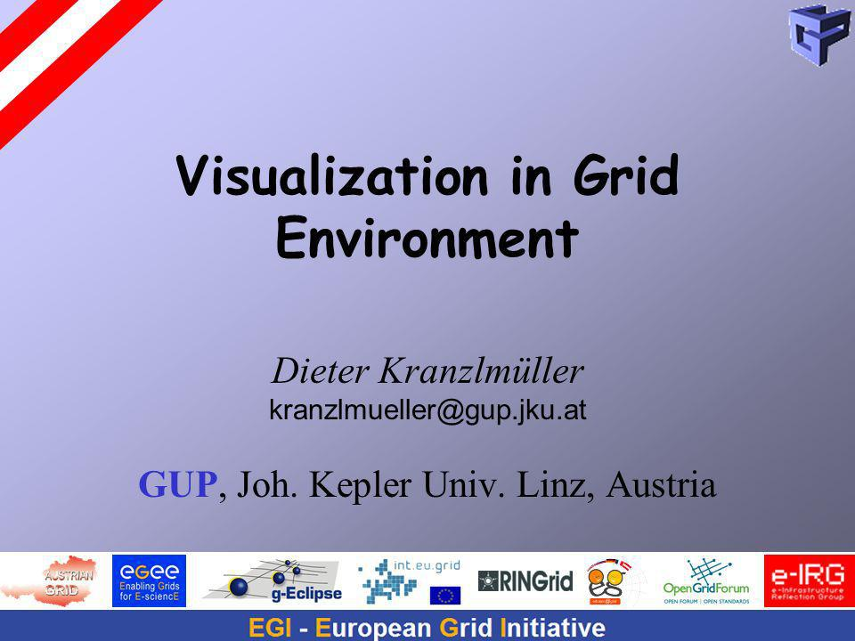 Visualization in Grid Environment Dieter Kranzlmüller kranzlmueller@gup.jku.at GUP, Joh.
