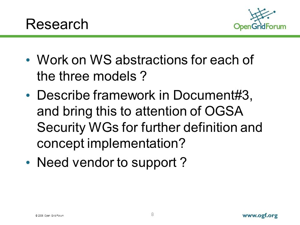 © 2006 Open Grid Forum 8 Research Work on WS abstractions for each of the three models .