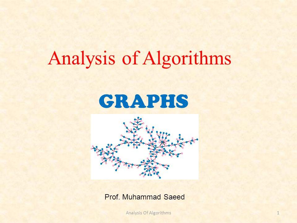 GRAPHS Prof. Muhammad Saeed Analysis of Algorithms Analysis Of Algorithms1