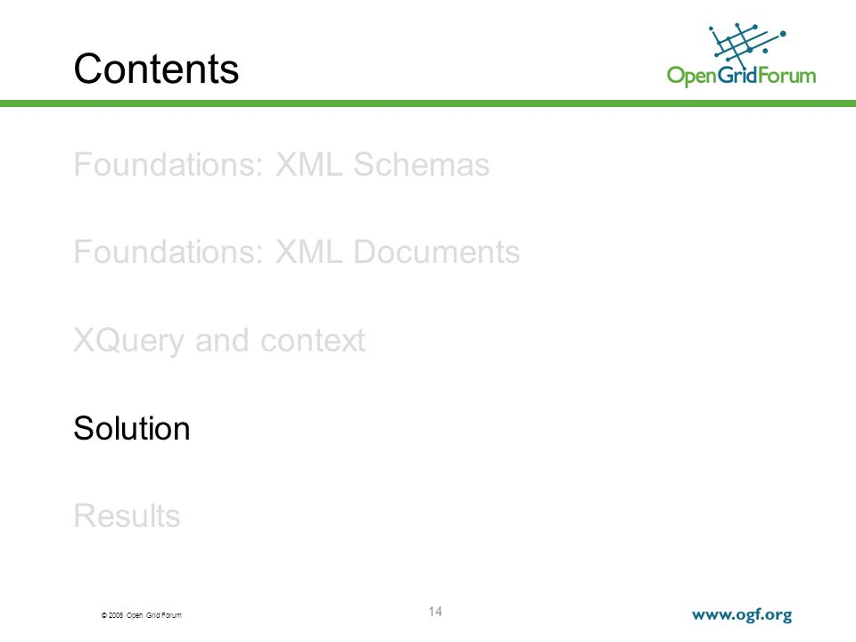 © 2006 Open Grid Forum 14 Contents Foundations: XML Schemas Foundations: XML Documents XQuery and context Solution Results