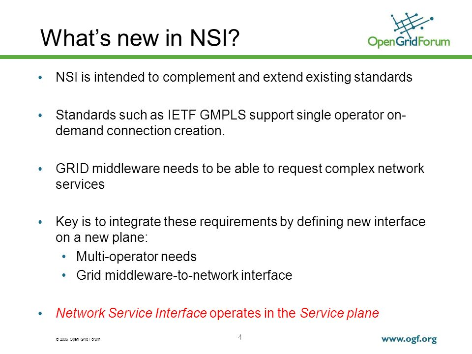 © 2006 Open Grid Forum 4 Whats new in NSI.