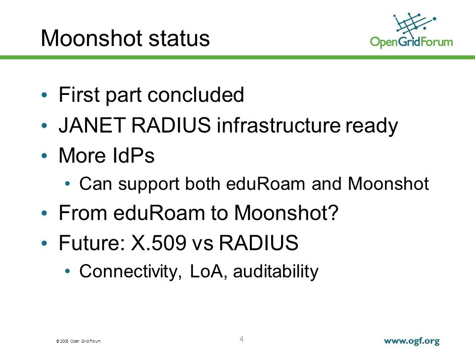 © 2006 Open Grid Forum Moonshot Next Steps Defining core vs extd attributes Existing AAs: obtaining SAML attrs Policy Delegation proof of concept, but needs more work 5