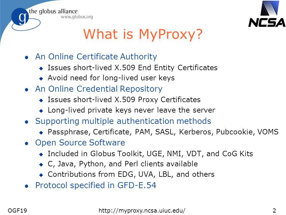 OGF19http://myproxy.ncsa.uiuc.edu/2 What is MyProxy.