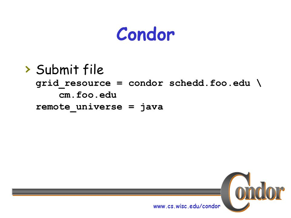 www.cs.wisc.edu/condor Condor Submit file grid_resource = condor schedd.foo.edu \ cm.foo.edu remote_universe = java