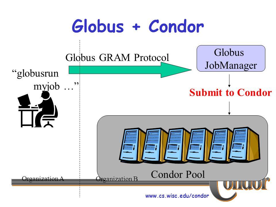 www.cs.wisc.edu/condor Globus + Condor Globus GRAM Protocol Globus JobManager Submit to Condor Condor Pool Organization A Organization B globusrun myjob …