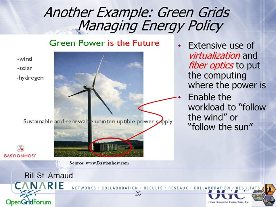 26 Another Example: Green Grids Managing Energy Policy Source: www.Bastionhost.com Bill St. Arnaud virtualization fiber optics Extensive use of virtua