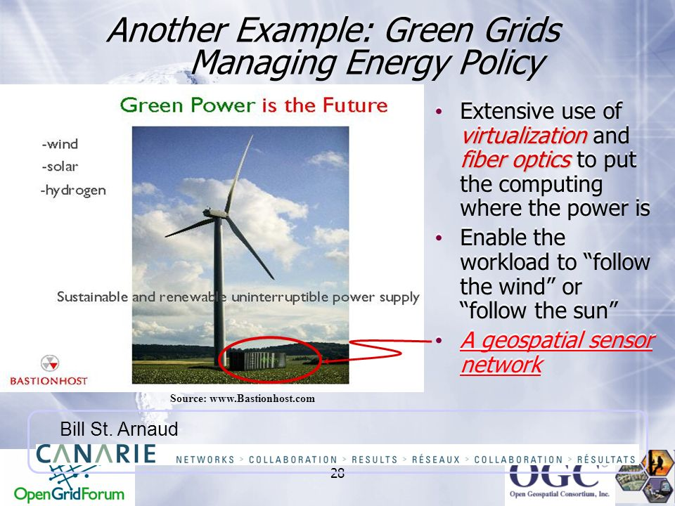 28 Another Example: Green Grids Managing Energy Policy Source: www.Bastionhost.com Bill St. Arnaud virtualization fiber optics Extensive use of virtua