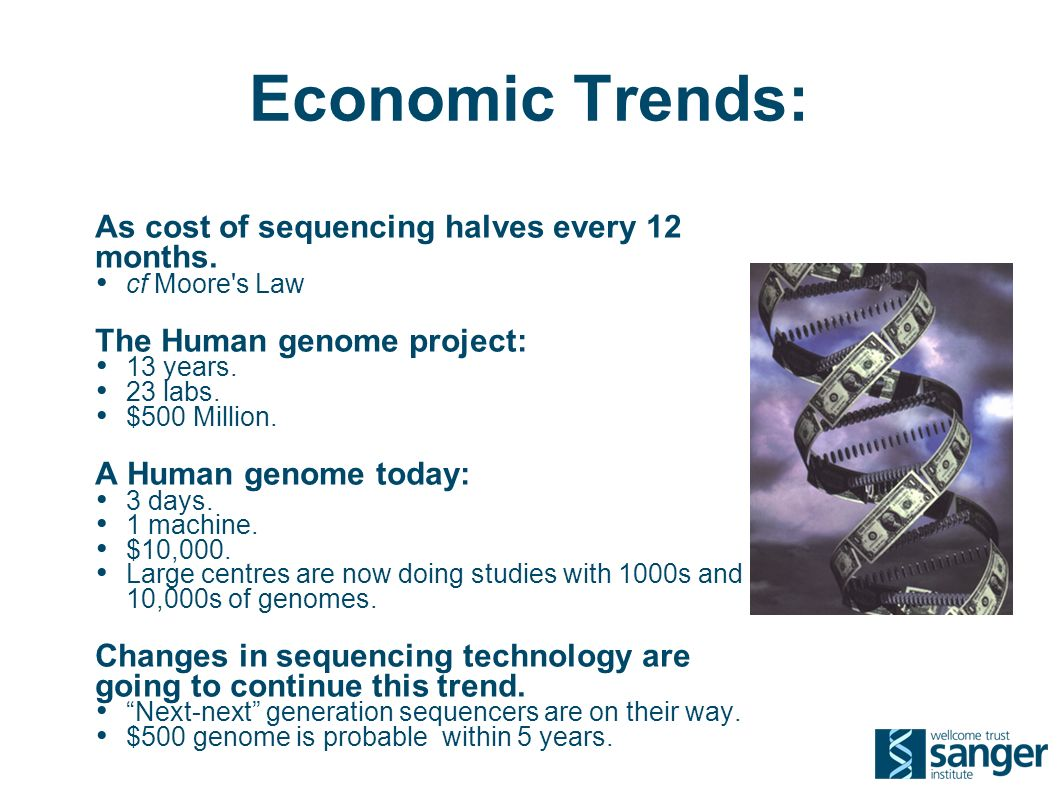 Economic Trends: As cost of sequencing halves every 12 months.