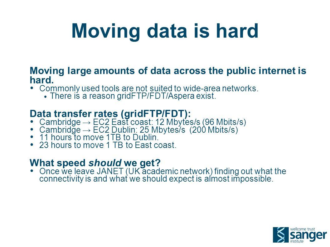 Moving data is hard Moving large amounts of data across the public internet is hard.