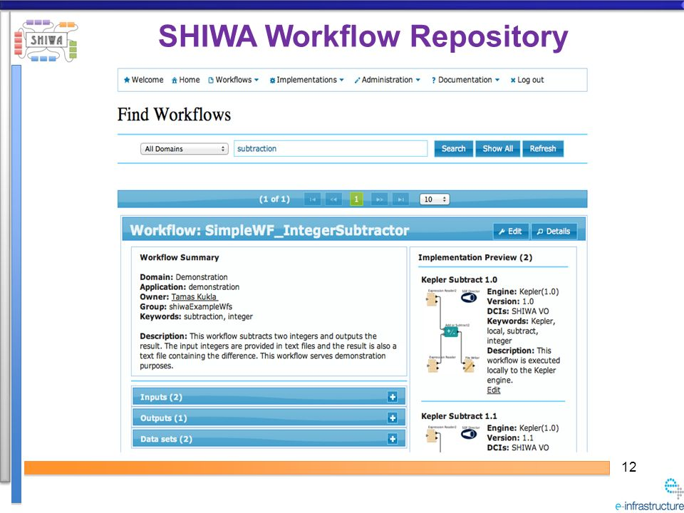 12 SHIWA Workflow Repository
