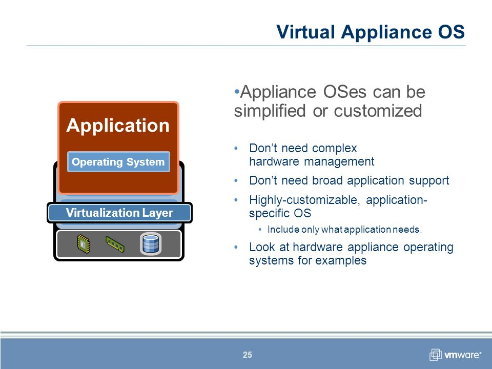 25 Appliance OSes can be simplified or customized Dont need complex hardware management Dont need broad application support Highly-customizable, appli