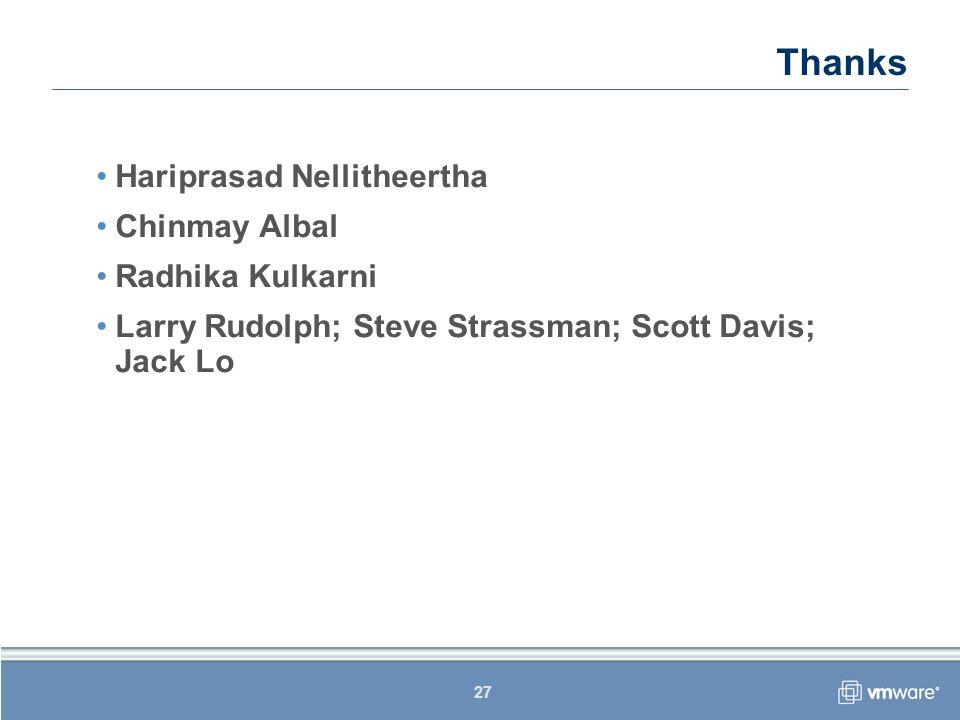 27 Thanks Hariprasad Nellitheertha Chinmay Albal Radhika Kulkarni Larry Rudolph; Steve Strassman; Scott Davis; Jack Lo
