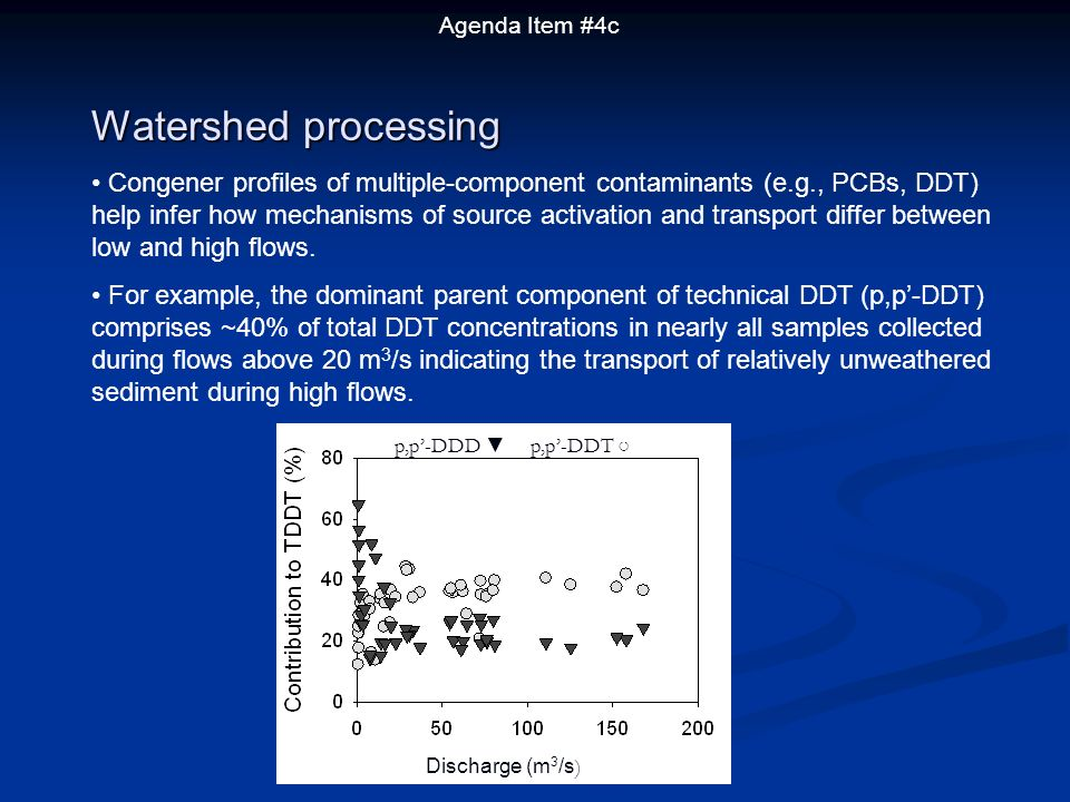 Agenda Item #4c p,p-DDD p,p-DDT Watershed processing Congener profiles of multiple-component contaminants (e.g., PCBs, DDT) help infer how mechanisms of source activation and transport differ between low and high flows.