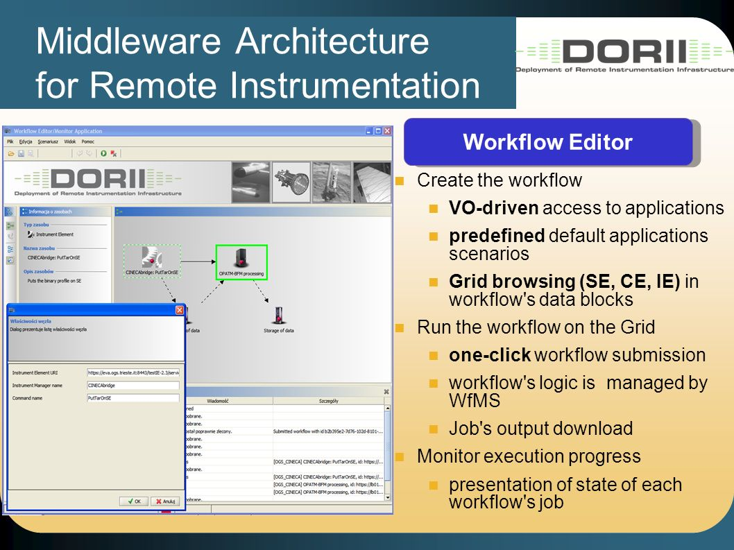 Middleware Architecture for Remote Instrumentation Workflow Editor Create the workflow VO-driven access to applications predefined default applications scenarios Grid browsing (SE, CE, IE) in workflow s data blocks Run the workflow on the Grid one-click workflow submission workflow s logic is managed by WfMS Job s output download Monitor execution progress presentation of state of each workflow s job