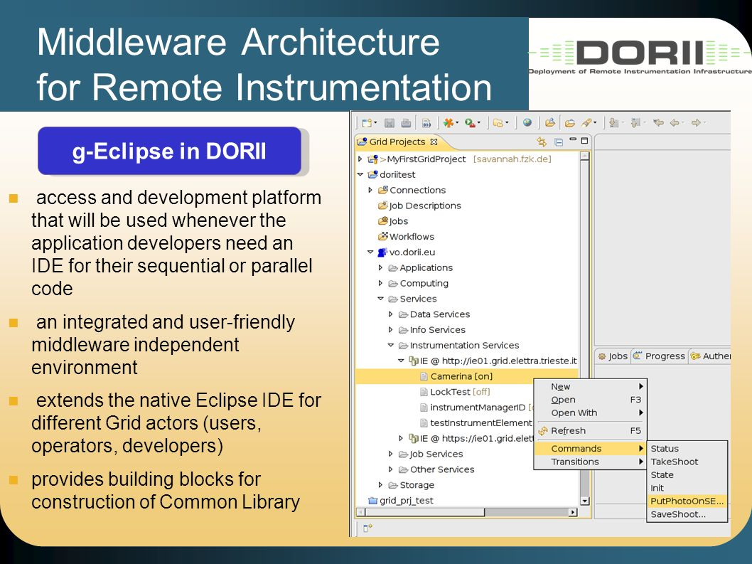 Middleware Architecture for Remote Instrumentation g-Eclipse in DORII access and development platform that will be used whenever the application developers need an IDE for their sequential or parallel code an integrated and user-friendly middleware independent environment extends the native Eclipse IDE for different Grid actors (users, operators, developers) provides building blocks for construction of Common Library