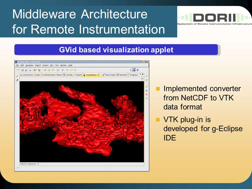 Middleware Architecture for Remote Instrumentation GVid based visualization applet Implemented converter from NetCDF to VTK data format VTK plug-in is developed for g-Eclipse IDE