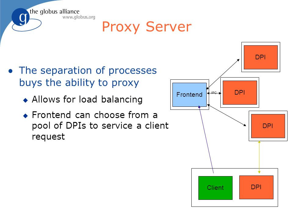 Proxy Server The separation of processes buys the ability to proxy Allows for load balancing Frontend can choose from a pool of DPIs to service a clie