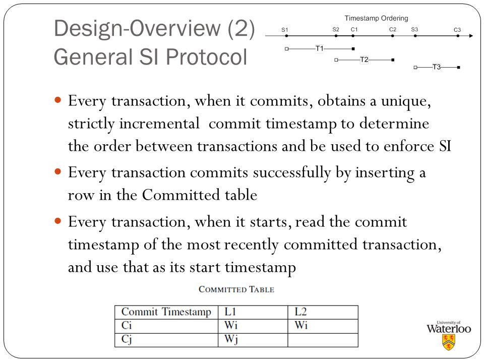Design-Overview (2) General SI Protocol Every transaction, when it commits, obtains a unique, strictly incremental commit timestamp to determine the o