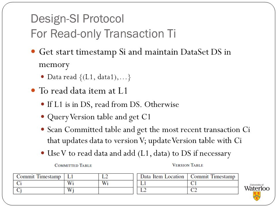 Design-SI Protocol For Read-only Transaction Ti Get start timestamp Si and maintain DataSet DS in memory Data read {(L1, data1),…} To read data item a