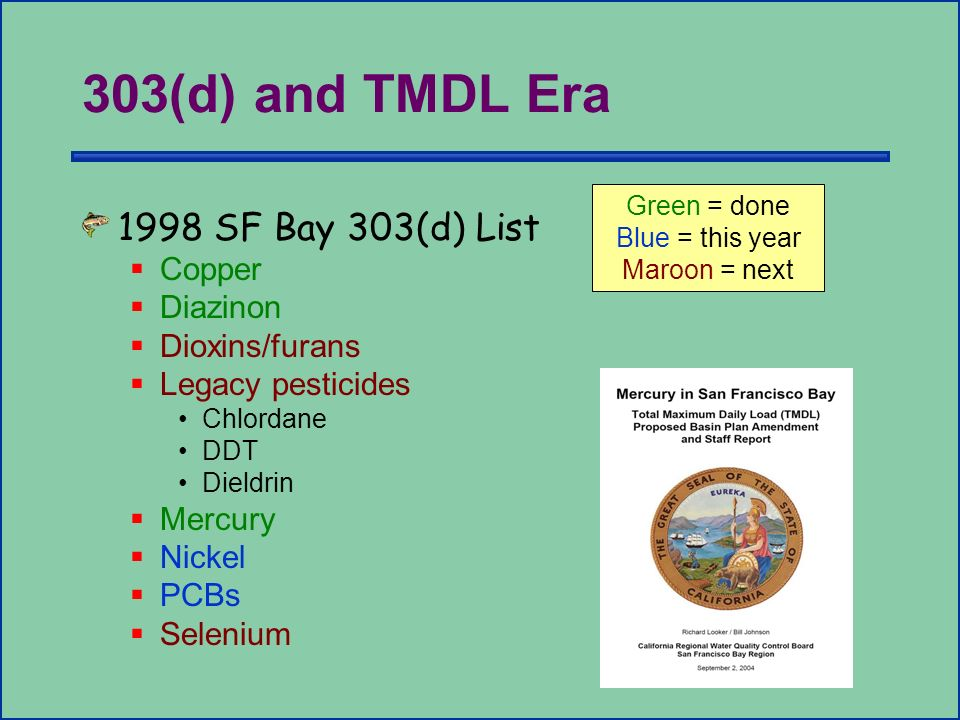 303(d) and TMDL Era 1998 SF Bay 303(d) List Copper Diazinon Dioxins/furans Legacy pesticides Chlordane DDT Dieldrin Mercury Nickel PCBs Selenium Green = done Blue = this year Maroon = next
