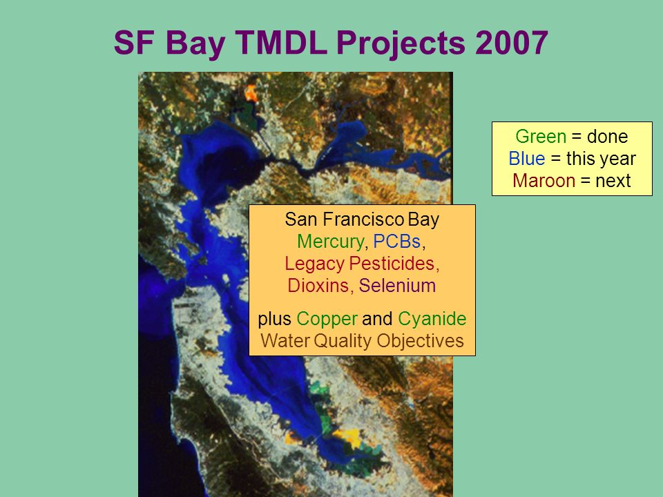 SF Bay TMDL Projects 2007 Green = done Blue = this year Maroon = next San Francisco Bay Mercury, PCBs, Legacy Pesticides, Dioxins, Selenium plus Copper and Cyanide Water Quality Objectives