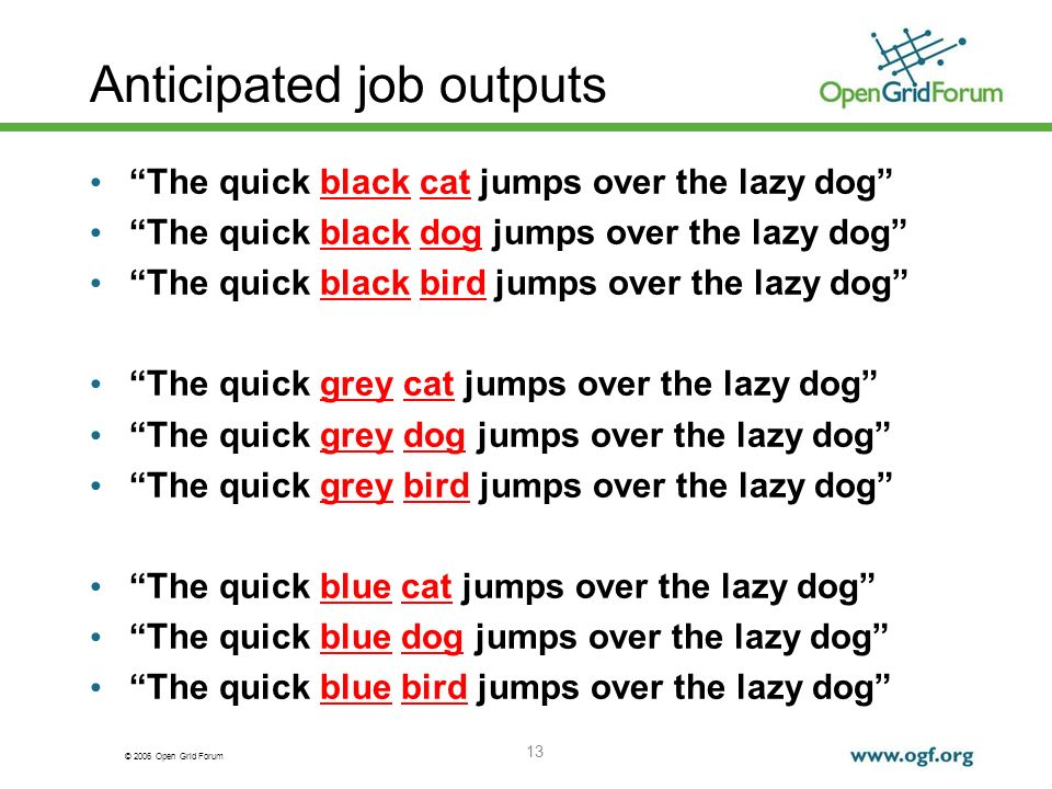 © 2006 Open Grid Forum 13 Anticipated job outputs The quick black cat jumps over the lazy dog The quick black dog jumps over the lazy dog The quick black bird jumps over the lazy dog The quick grey cat jumps over the lazy dog The quick grey dog jumps over the lazy dog The quick grey bird jumps over the lazy dog The quick blue cat jumps over the lazy dog The quick blue dog jumps over the lazy dog The quick blue bird jumps over the lazy dog